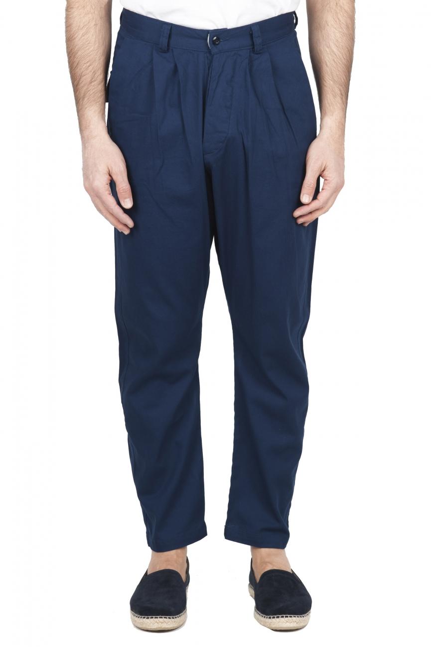 SBU 01671 Pantaloni da lavoro giapponesi con due pinces in cotone blu 01