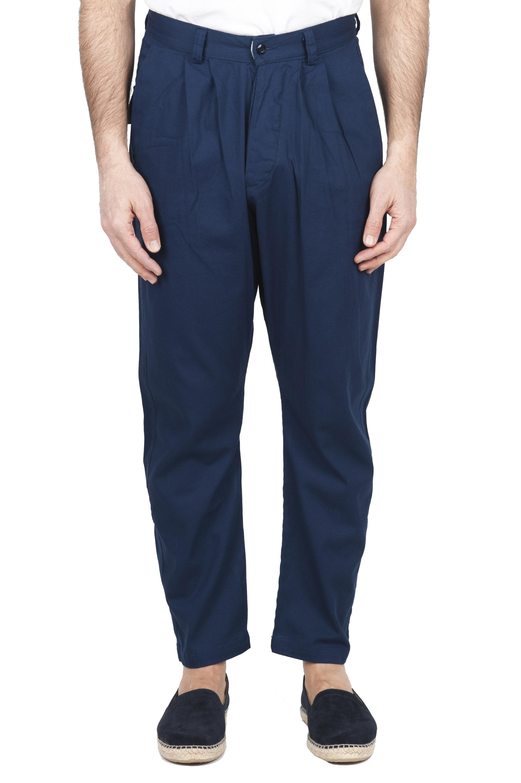 SBU 01671 Pantalón japonés de dos pinzas en algodón azul 01
