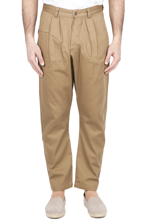 SBU 01672 Pantalón japonés de dos pinzas en algodón beige 01