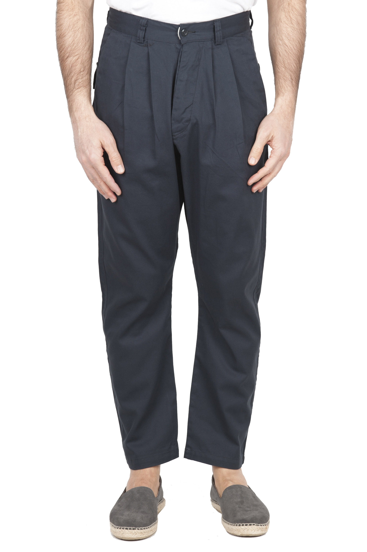 SBU 01673 Pantalón japonés de dos pinzas en algodón gris 01