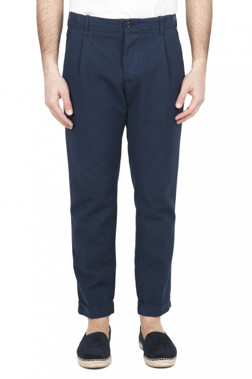 SBU 01675 Classic blue cotton pants with pinces and cuffs  01