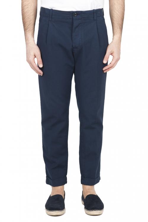 SBU 01675 Pantalon en coton bleu classique avec pinces et poignets 01