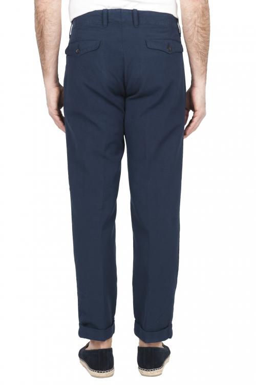 SBU 01675 Pantalón clásico de algodón azul con pinzas y puños 01