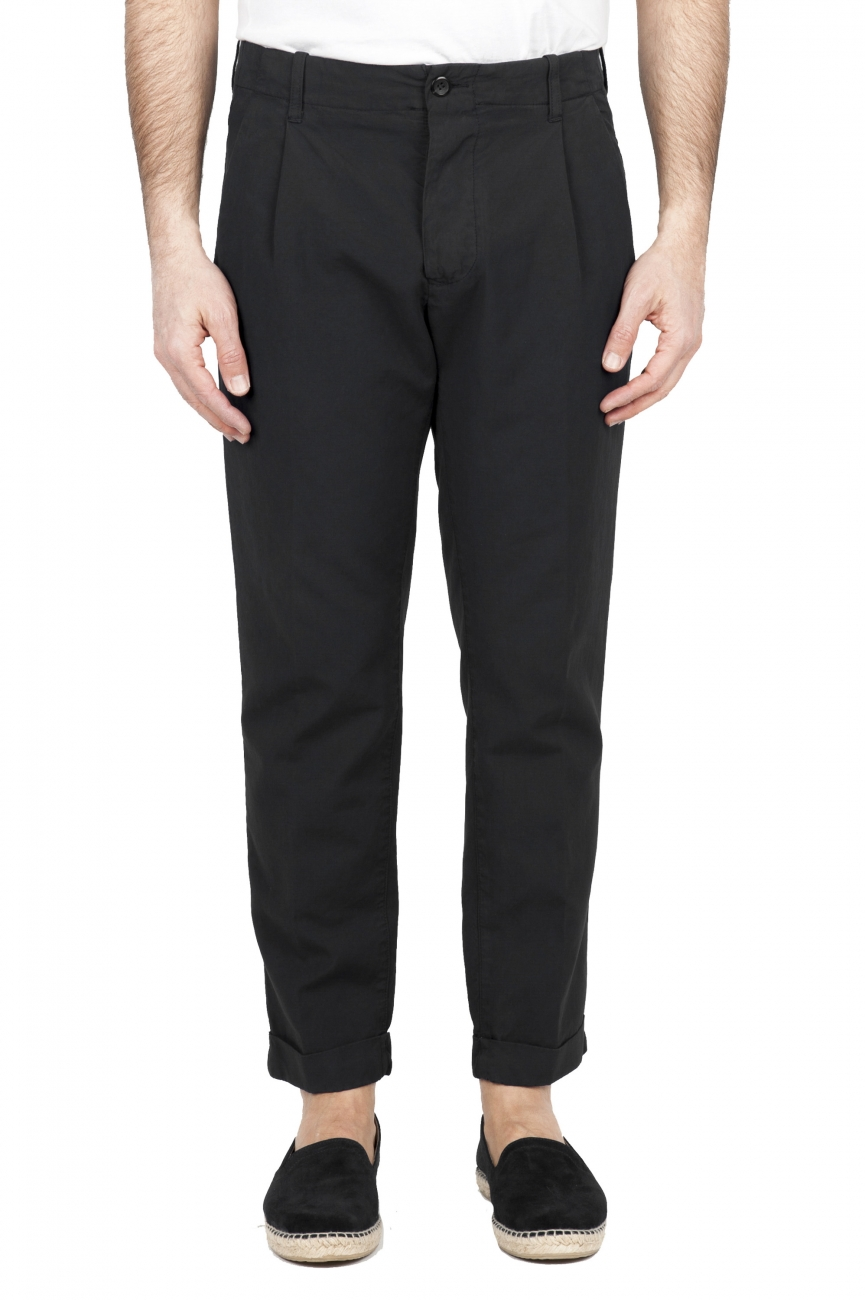 SBU 01676 Classic black cotton pants with pinces and cuffs  01