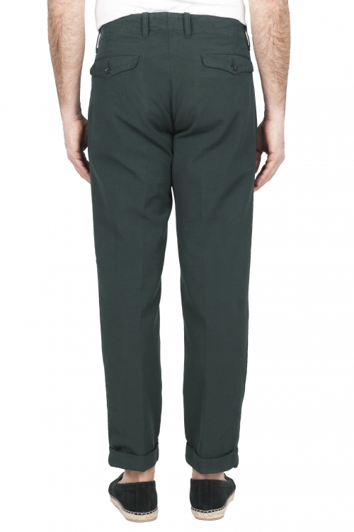 SBU 01677 Classic green cotton pants with pinces and cuffs  01