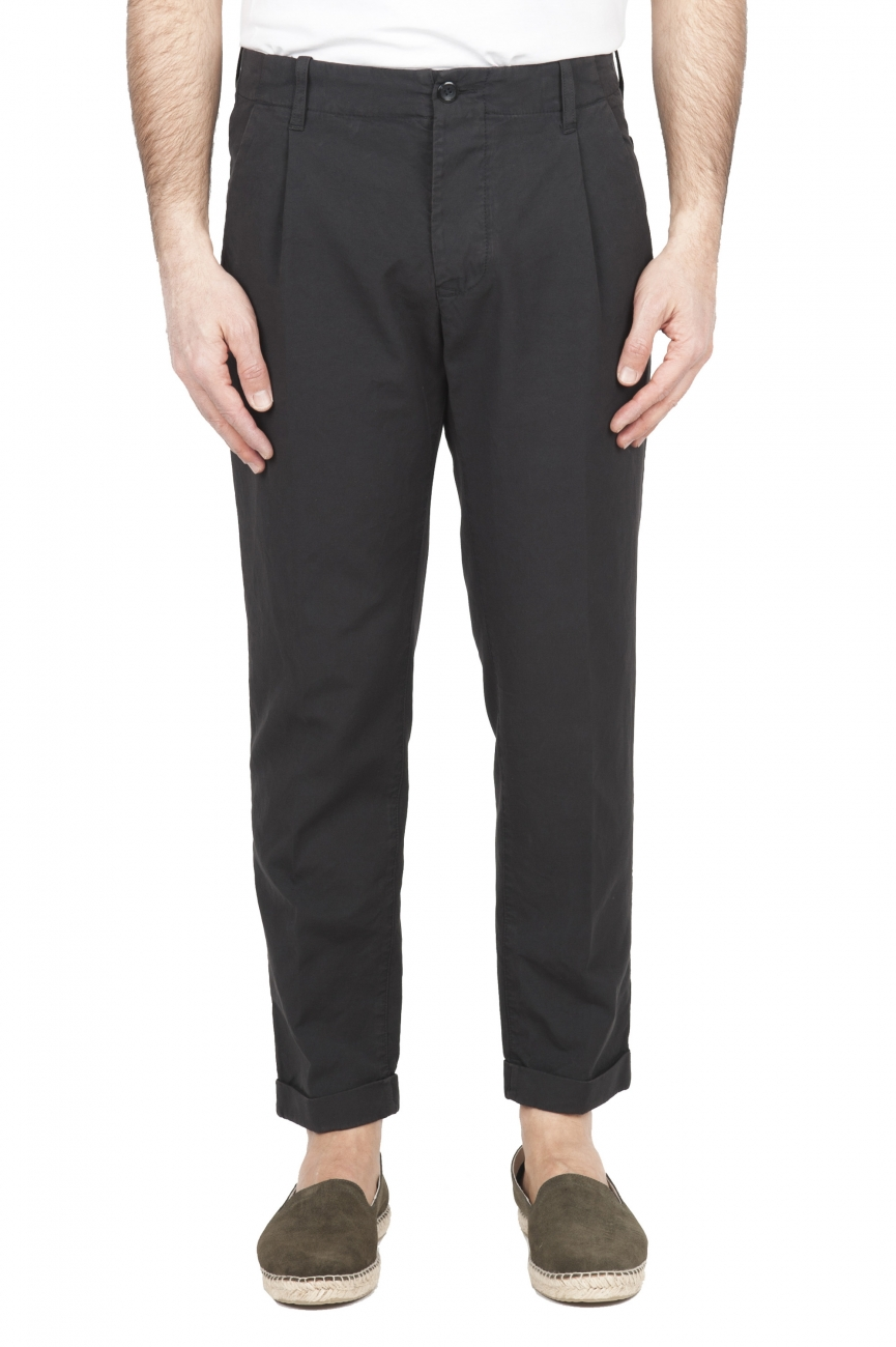 SBU 01678 Pantalón clásico de algodón gris con pinzas y puños 01
