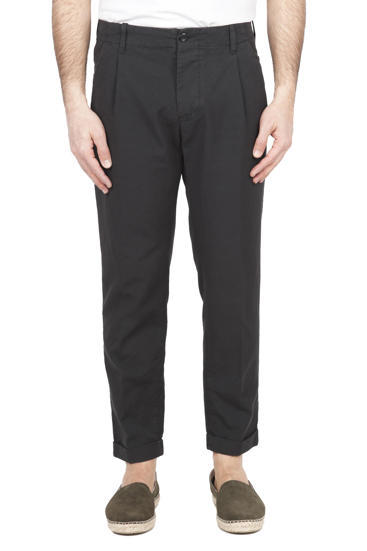 SBU 01678 Pantalon en coton gris classique avec pinces et poignets 01