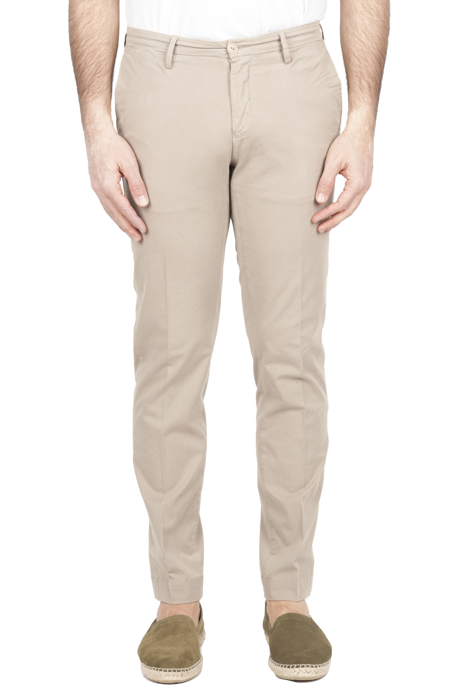 SBU 01680 Pantaloni chino classici in cotone elasticizzato beige 01