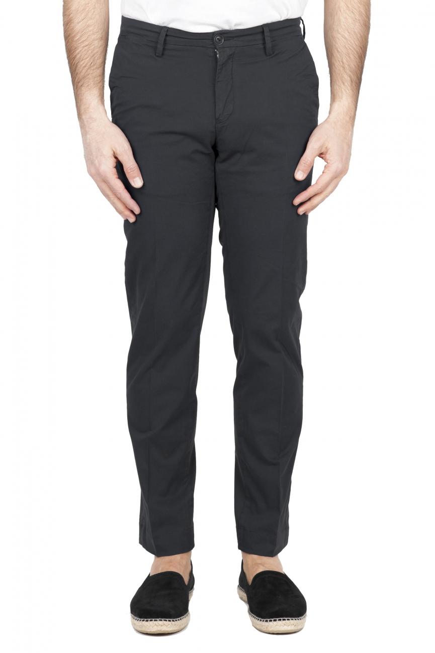 SBU 01681 Pantalon chino classique en coton stretch noir 01