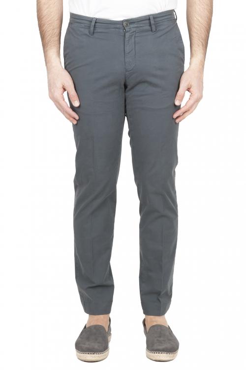 SBU 01682 Pantalones chinos clásicos en algodón elástico gris 01
