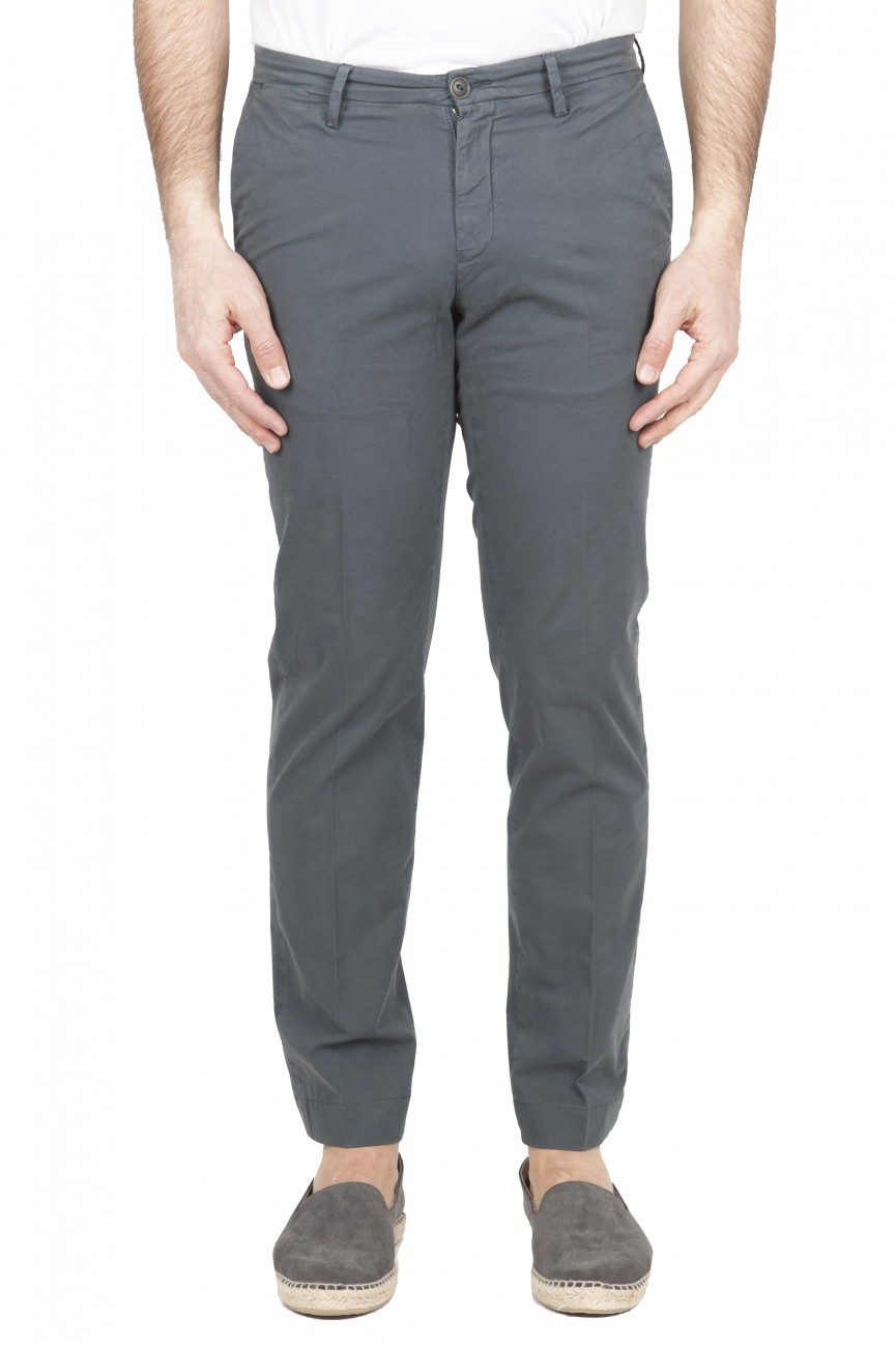 SBU 01682 Classic chino pants in grey stretch cotton 01