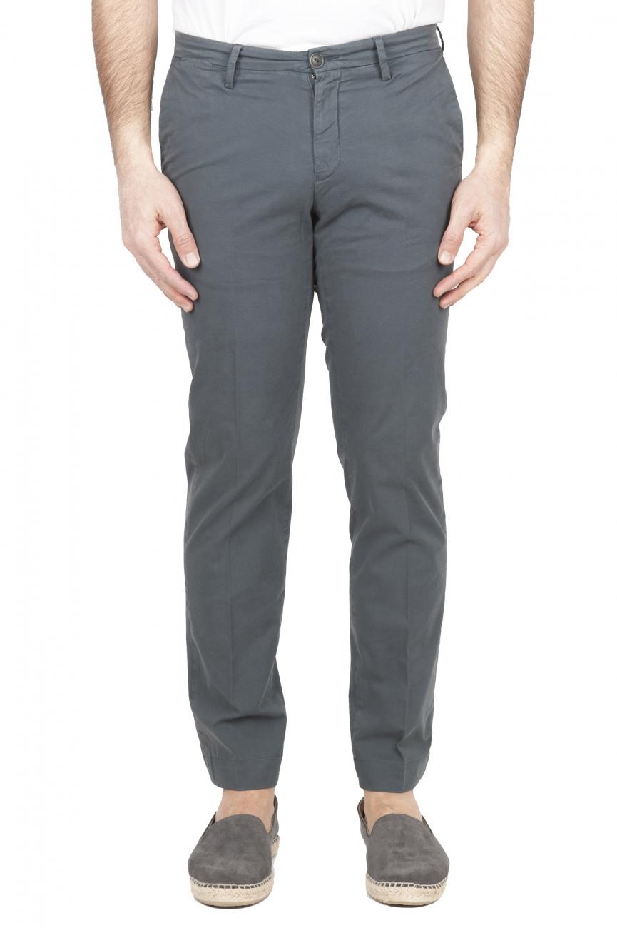 SBU 01682 Pantalon chino classique en coton stretch gris 01