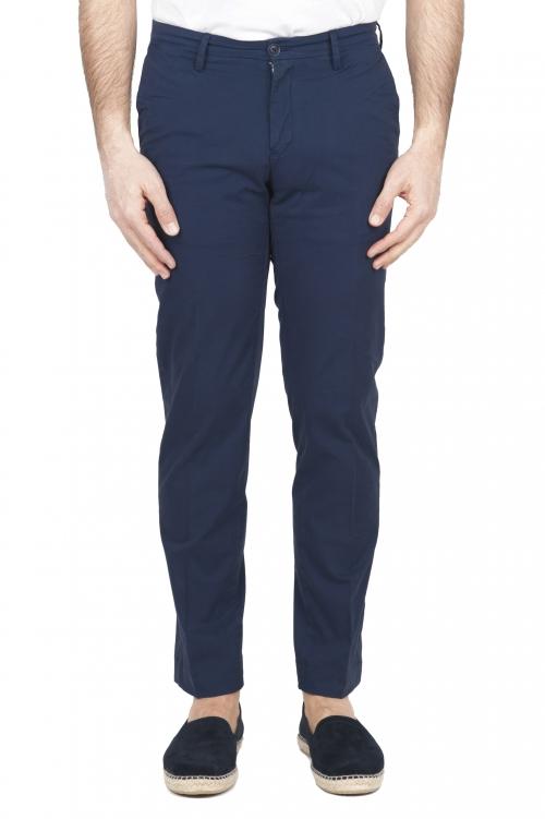SBU 01684 Pantalones chinos clásicos en algodón elástico azul marino 01