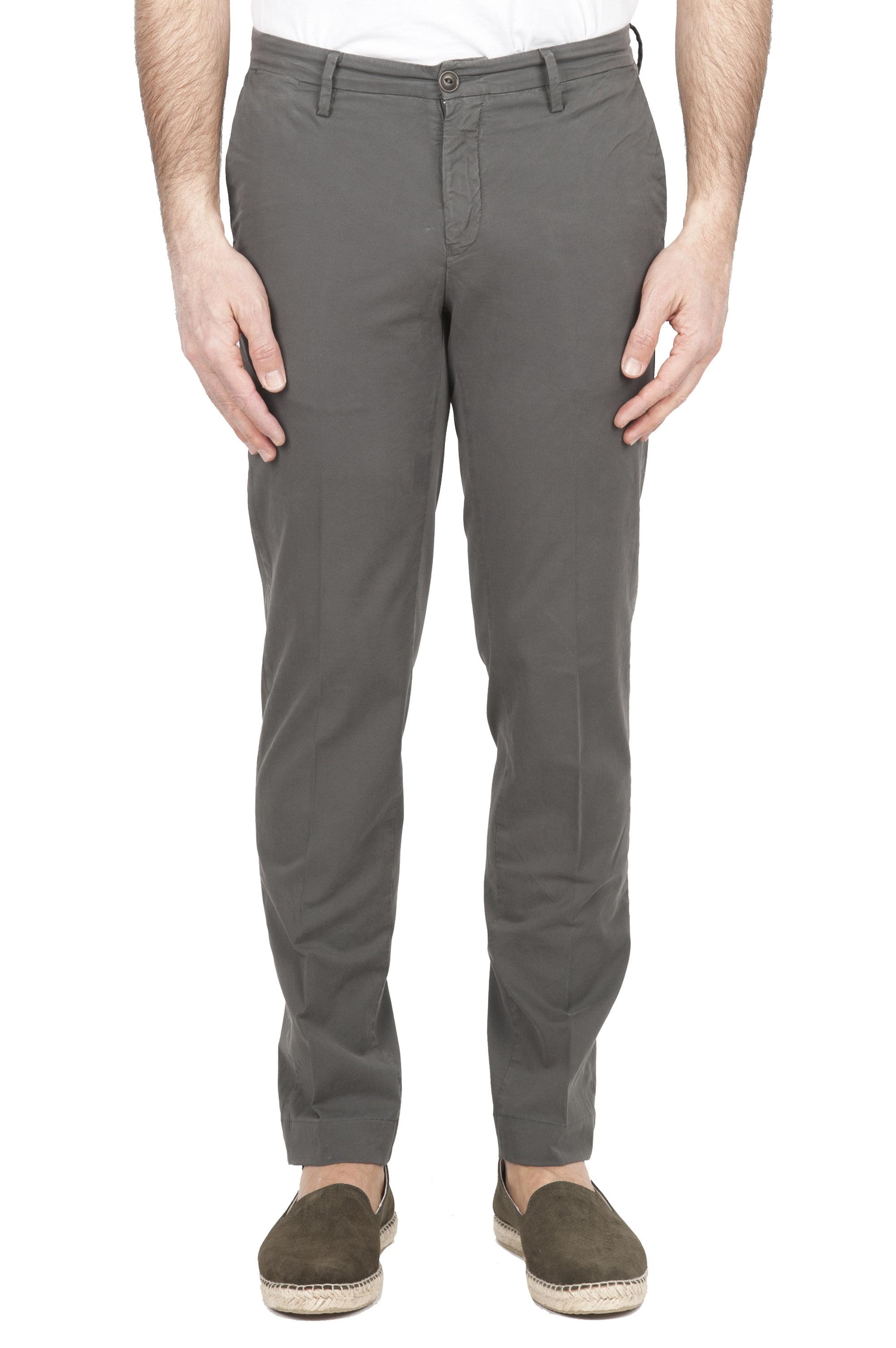 SBU 01685 Pantalones chinos clásicos en algodón elástico caqui 01