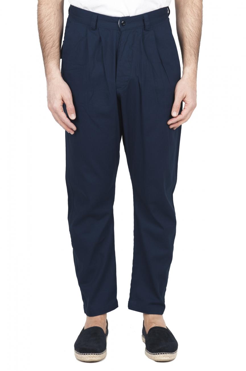 SBU 01686 Pantalón japonés de dos pinzas en algodón azul marino 01