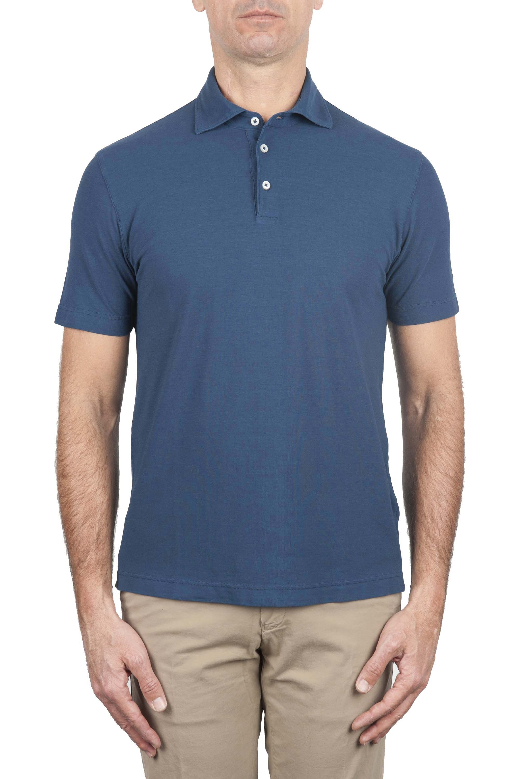 SBU 01688 Classic short sleeve blue cotton crepe polo shirt 01