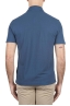 SBU 01688 Classic short sleeve blue cotton crepe polo shirt 05