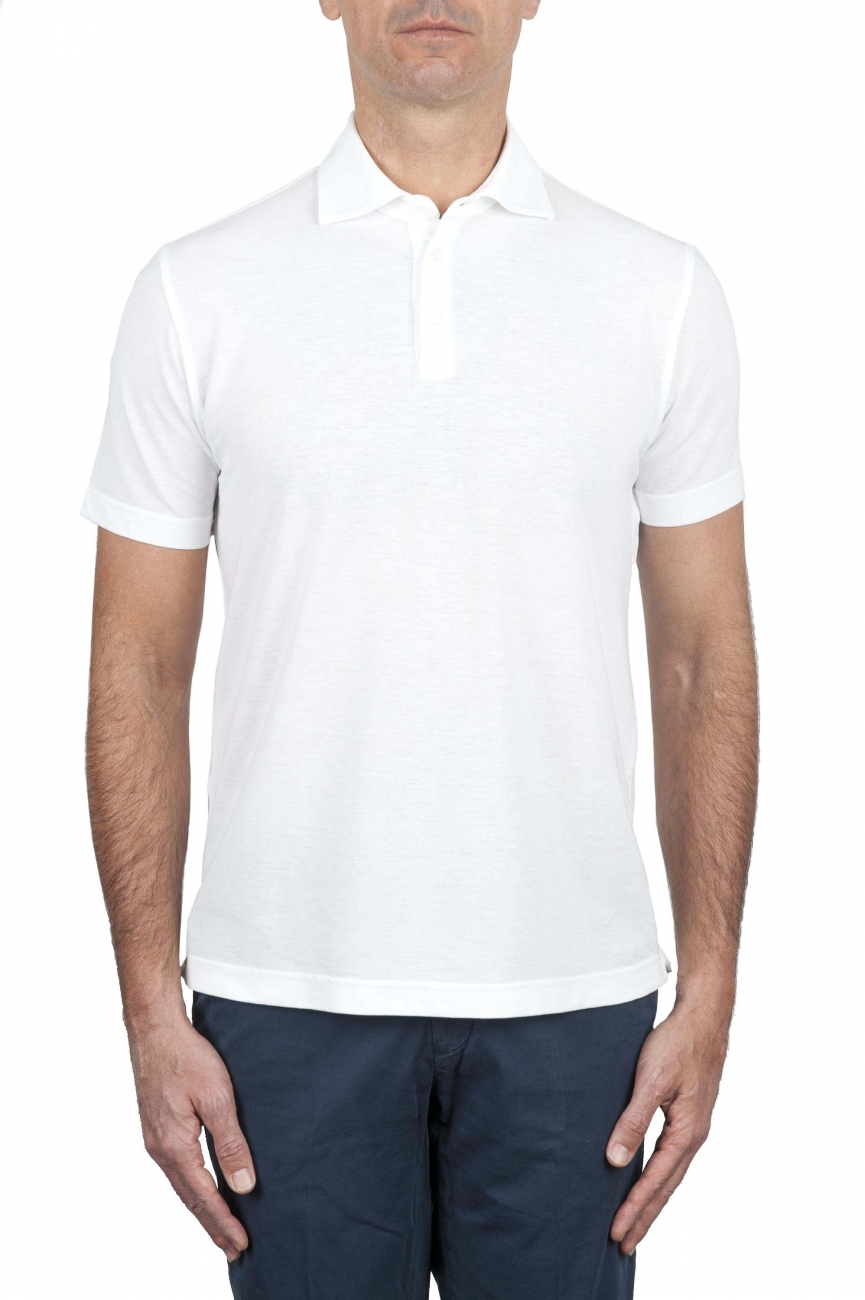 SBU 01689 Classic short sleeve white cotton crepe polo shirt 01