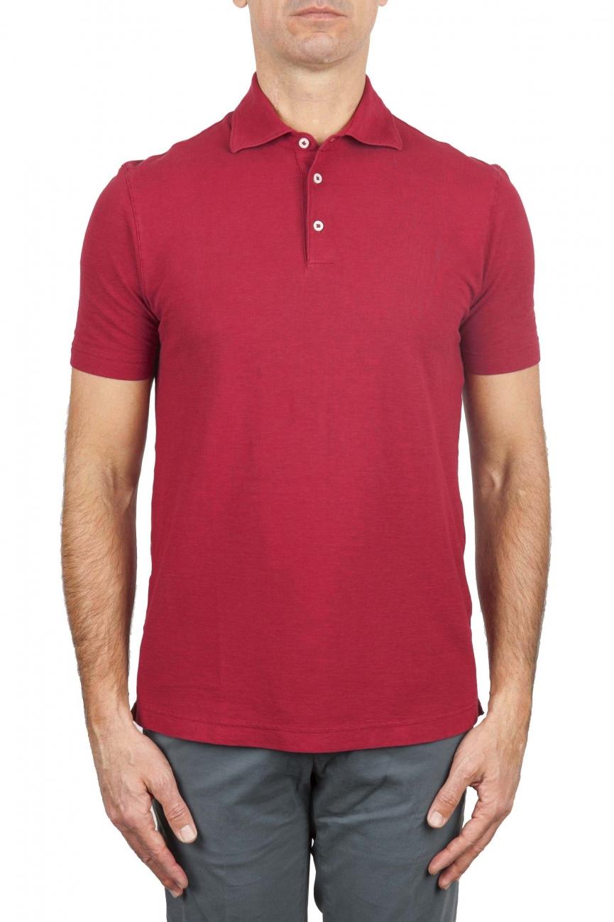 SBU 01690 Polo in crepe di cotone a maniche corte rossa 01