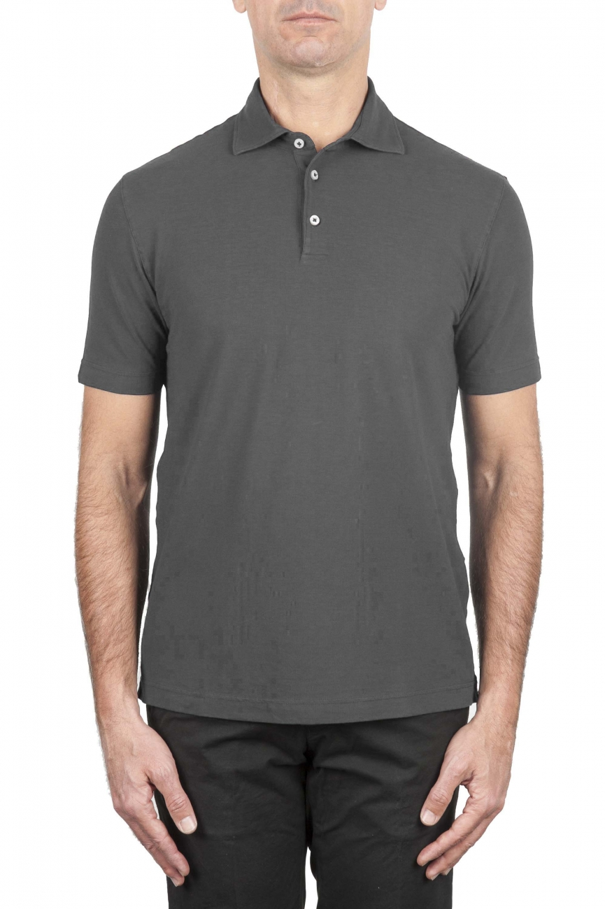 SBU 01691 クラシック半袖グレーコットンクレープポロシャツ 01