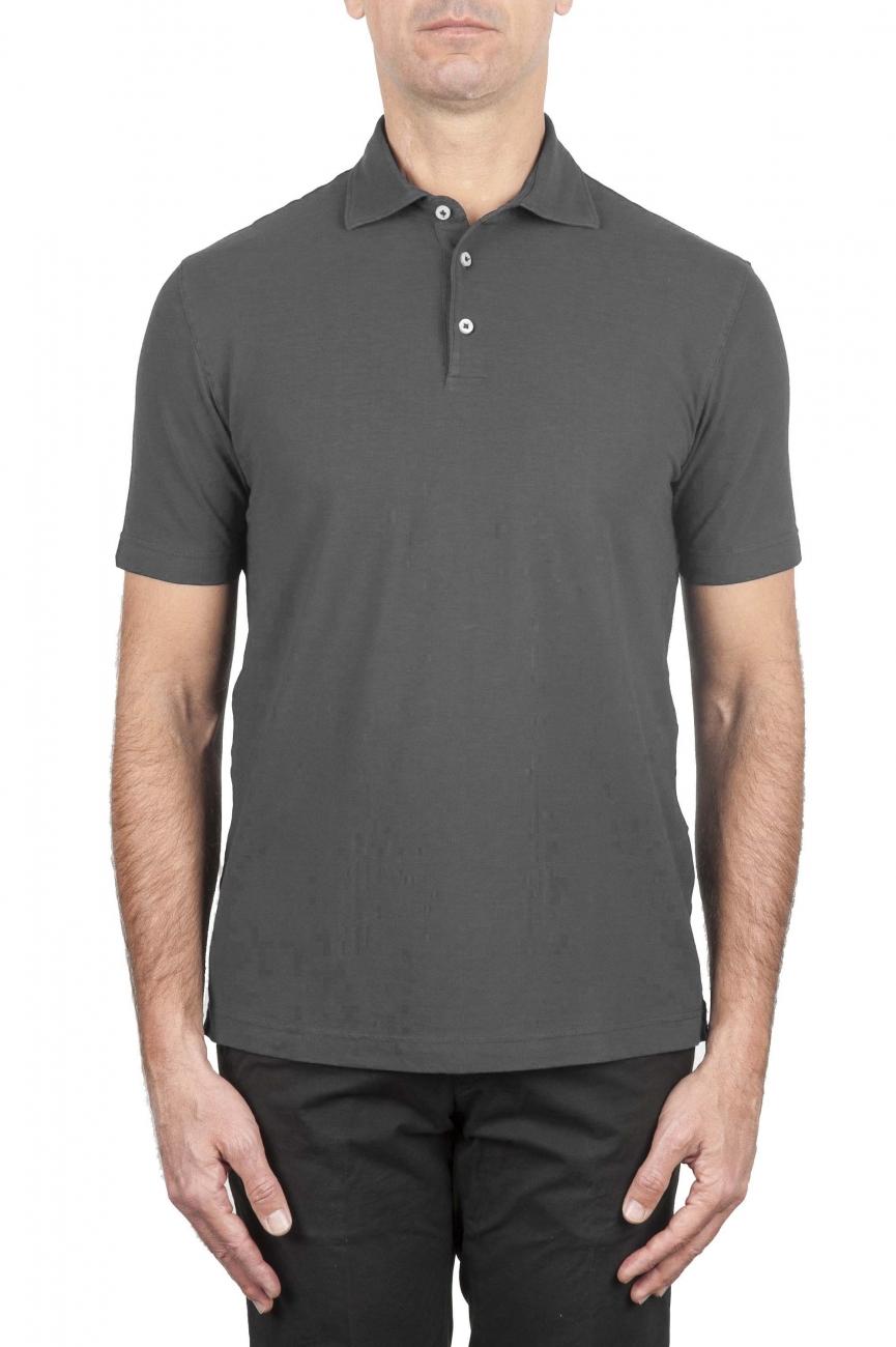 SBU 01691 Polo classique en crêpe de coton gris à manches courtes 01