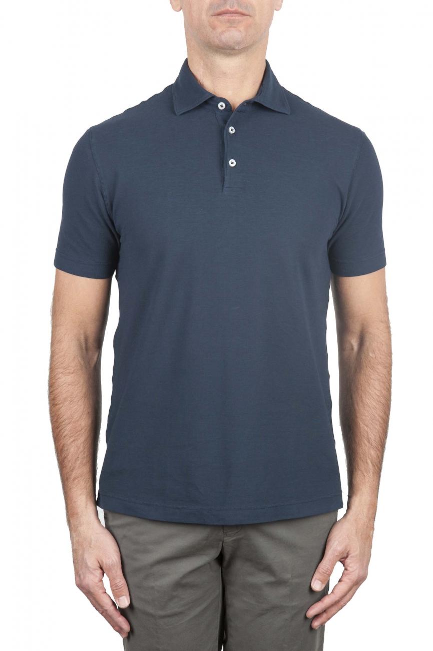 SBU 01692 クラシック半袖ネイビーブルーコットンクレープポロシャツ 01