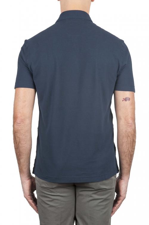 SBU 01692 Classic short sleeve navy blue cotton crepe polo shirt 01