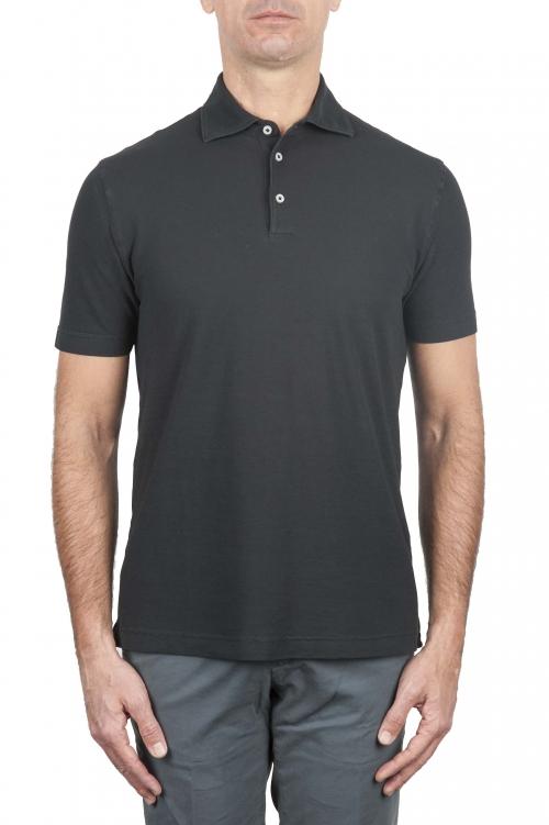 SBU 01693 Classic short sleeve black cotton crepe polo shirt 01