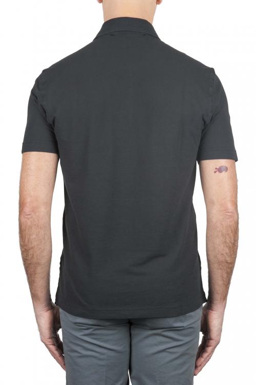 SBU 01693 クラシック半袖黒コットンクレープポロシャツ 01