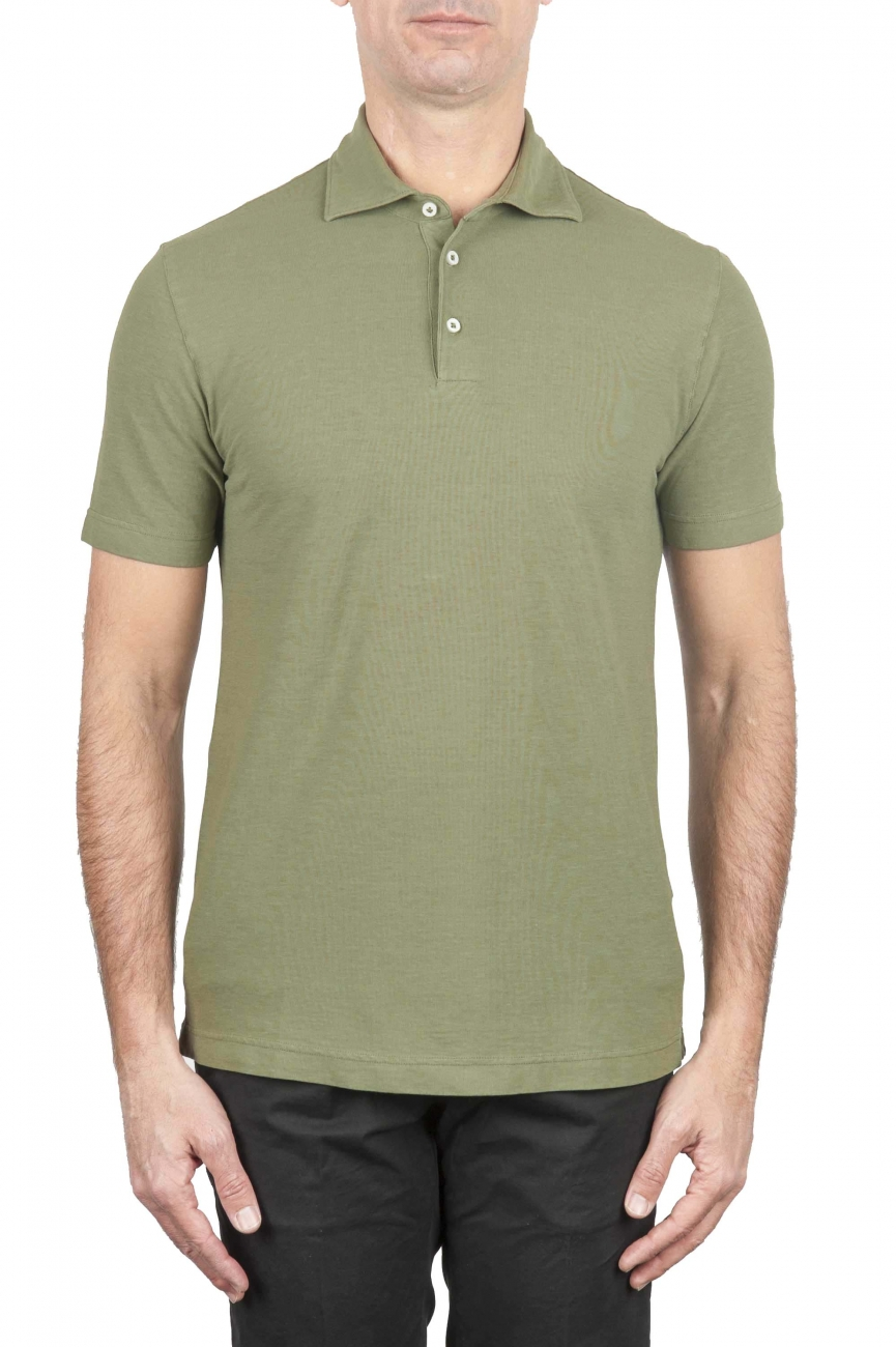 SBU 01694 Classic short sleeve green cotton crepe polo shirt 01