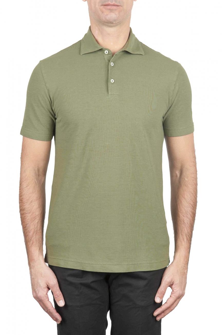 SBU 01694 Polo clásico de manga corta en crepé de algodón verde 01