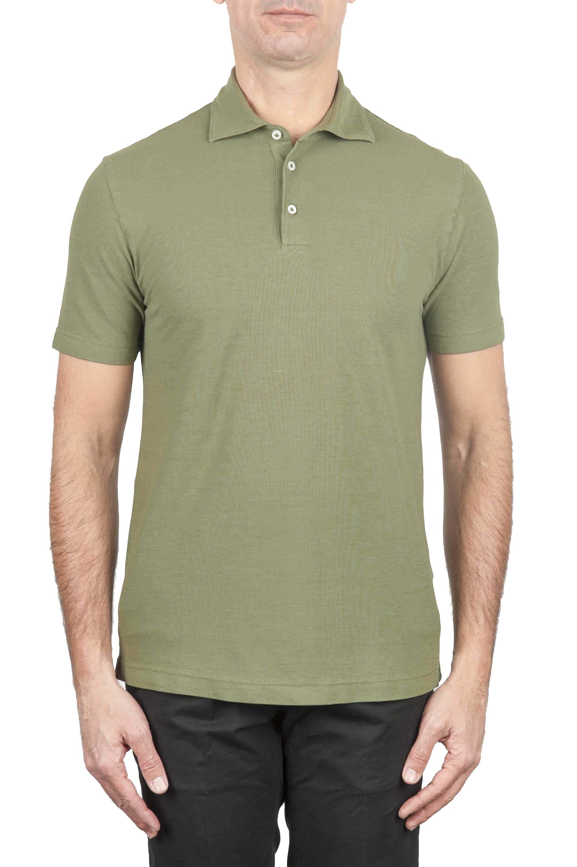 SBU 01694 Polo classique en crêpe de coton vert à manches courtes 01