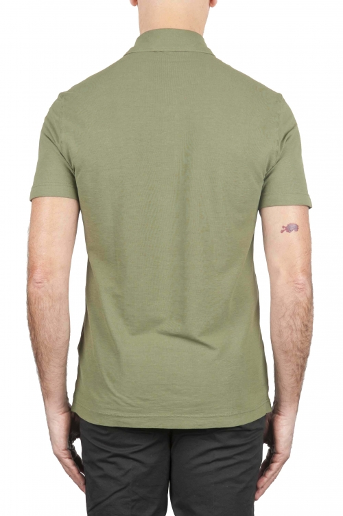 SBU 01694 Classic short sleeve green cotton crepe polo shirt 01