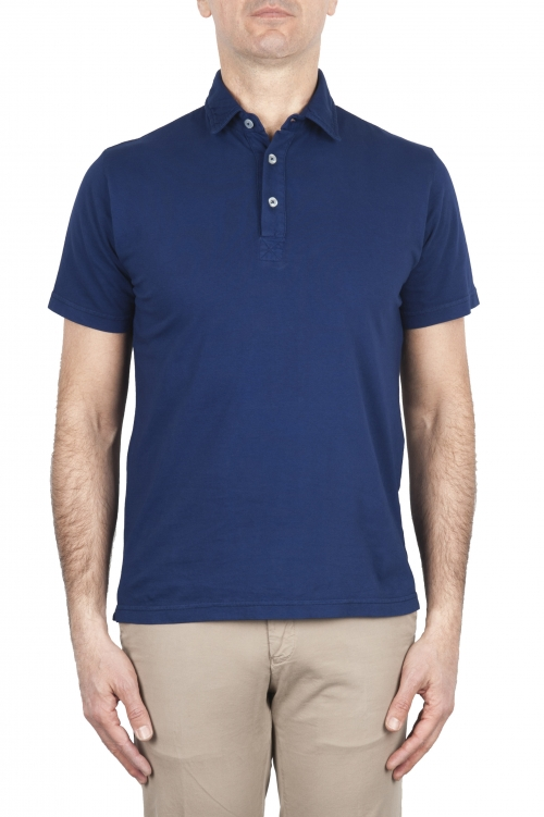 SBU 01695 古典的な半袖チャイナブルーコットンジャージーポロシャツ 01