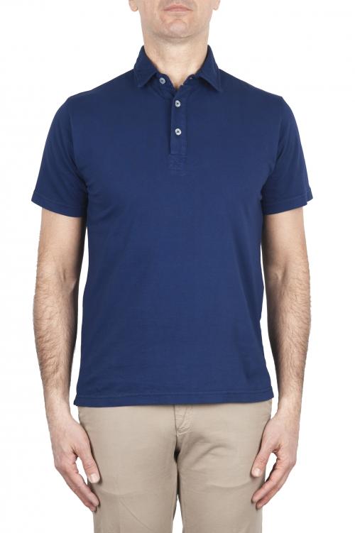 SBU 01695 Polo clásico de manga corta en jersey de algodón azul China 01