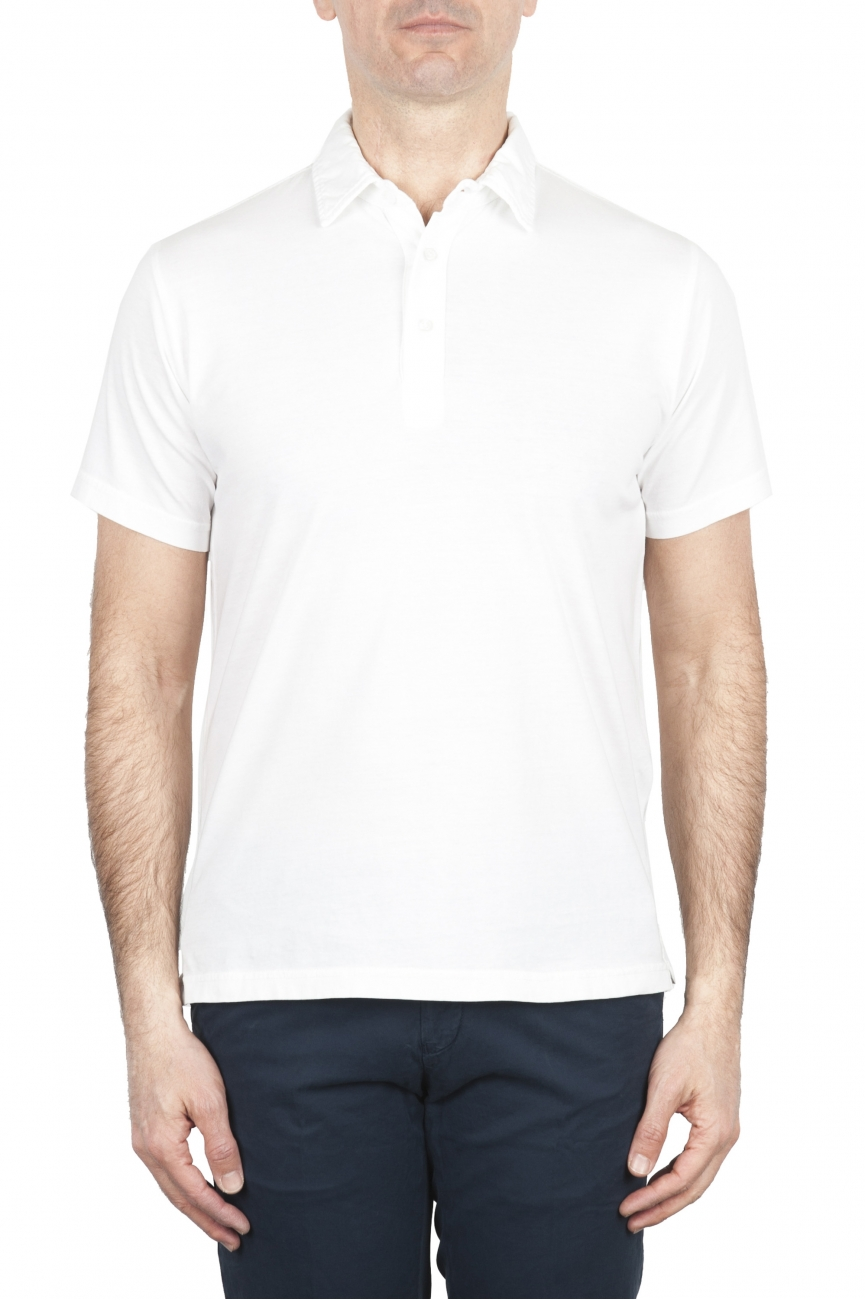 SBU 01696 Classic short sleeve white cotton jersey polo shirt 01