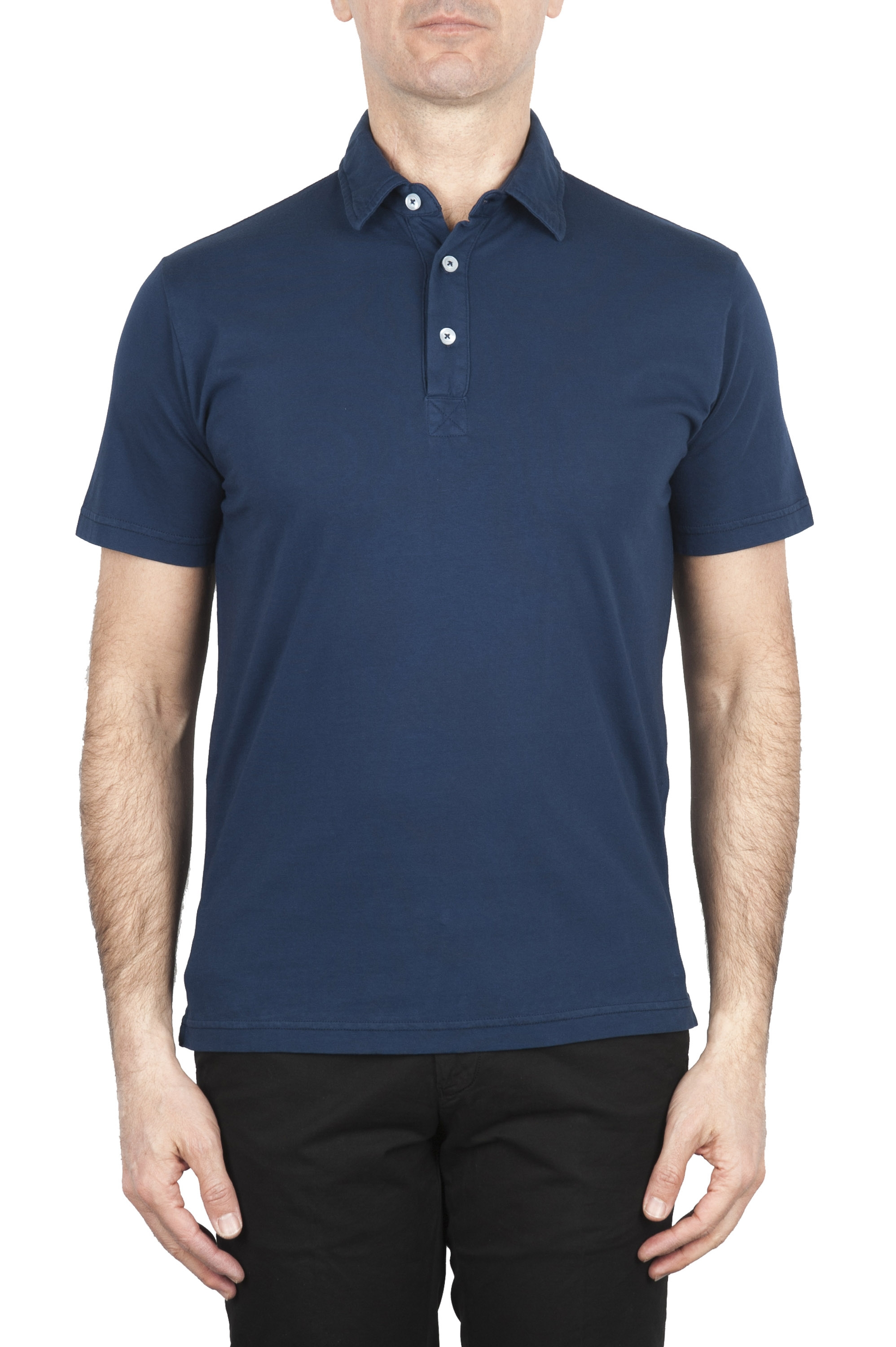 SBU 01698 Classic short sleeve navy blue cotton jersey polo shirt 01