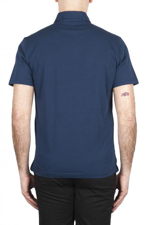 SBU 01698 Polo clásico de manga corta en jersey de algodón azul marino 01