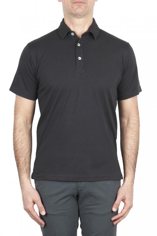 SBU 01699 Polo classique en jersey de coton noir à manches courtes 01