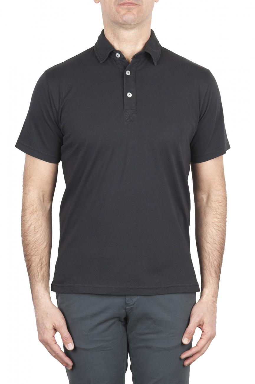 SBU 01699 Polo in jersey di cotone a maniche corte nera 01