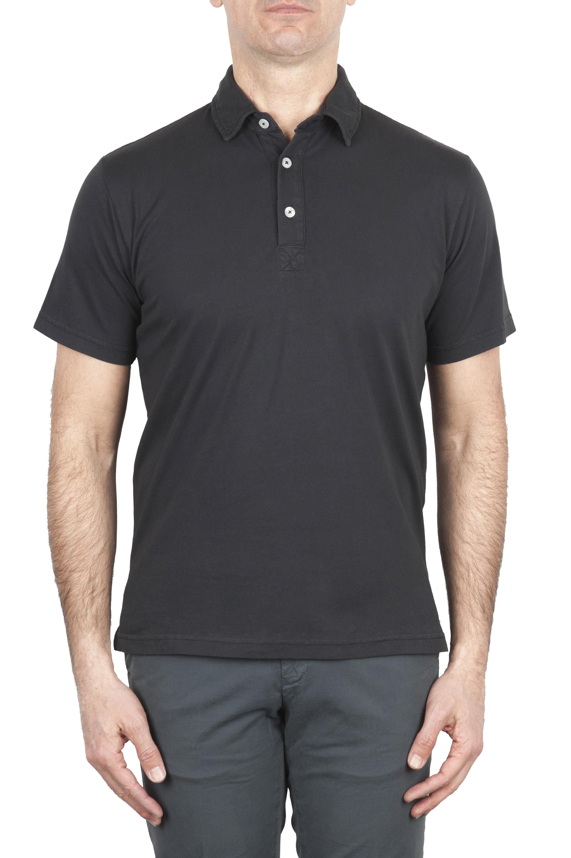 SBU 01699 クラシック半袖ブラックコットンジャージーポロシャツ 01