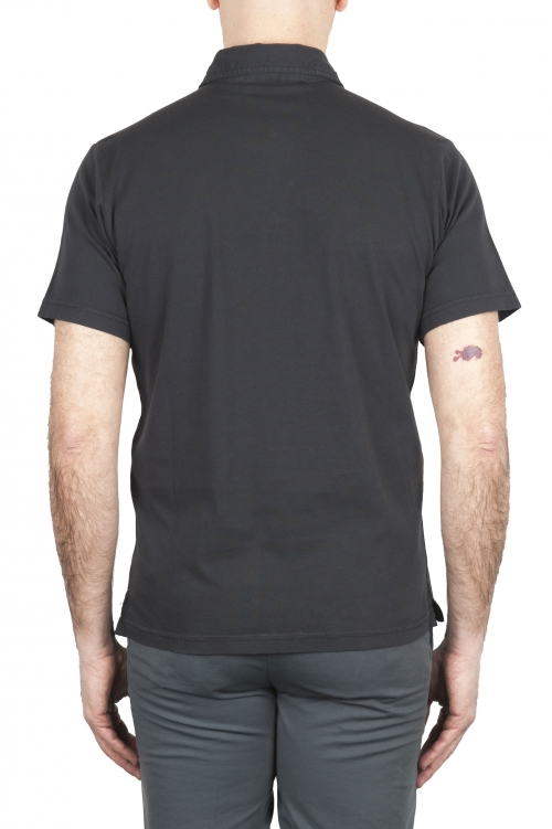 SBU 01699 Classic short sleeve black cotton jersey polo shirt 01