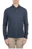 SBU 01710 Classic long sleeve blue cotton crepe polo shirt 01