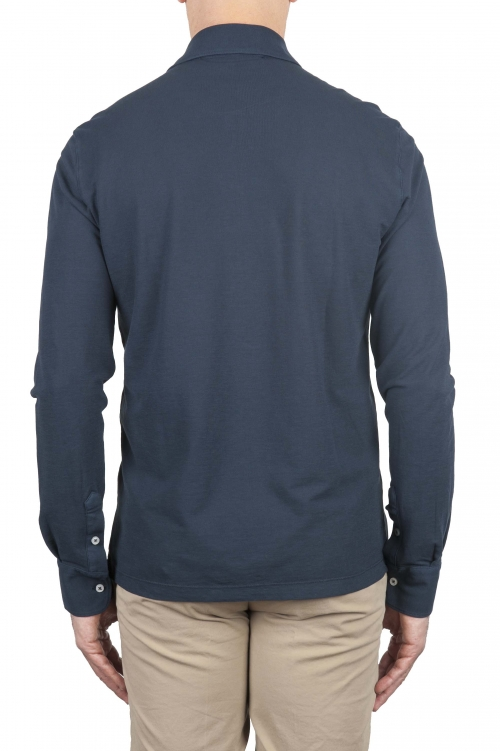 SBU 01710 Classic long sleeve blue cotton crepe polo shirt 01