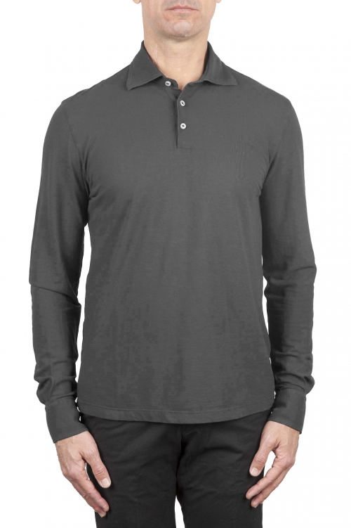 SBU 01711 Classic long sleeve grey cotton crepe polo shirt 01