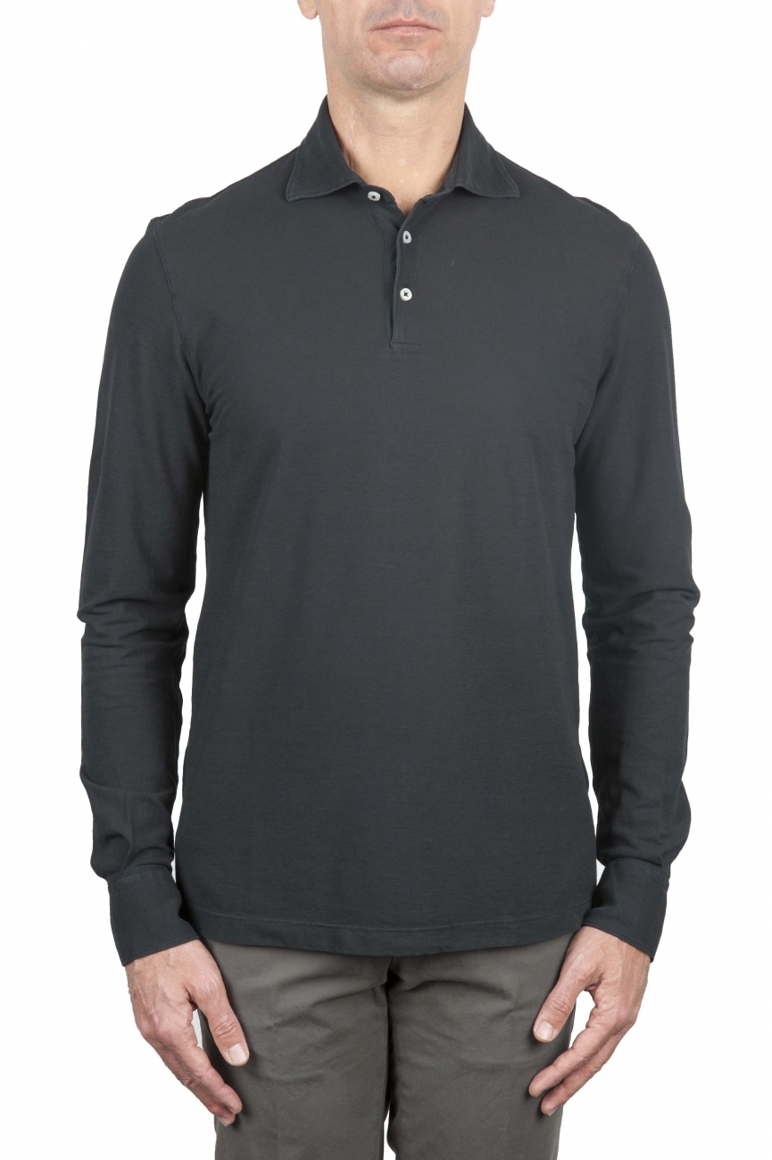 SBU 01712 Classic long sleeve black cotton crepe polo shirt 01