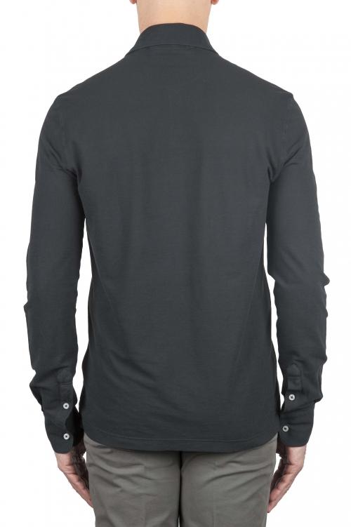 SBU 01712 クラシック長袖ブラックコットンクレープポロシャツ 01