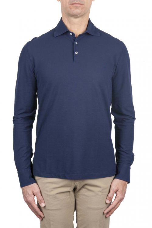 SBU 01713 Classic long sleeve china blue cotton crepe polo shirt 01