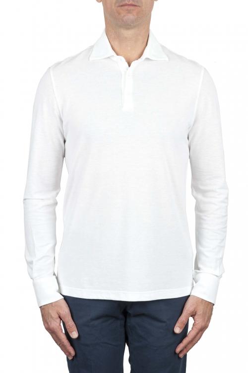 SBU 01714 Classic long sleeve white cotton crepe polo shirt 01
