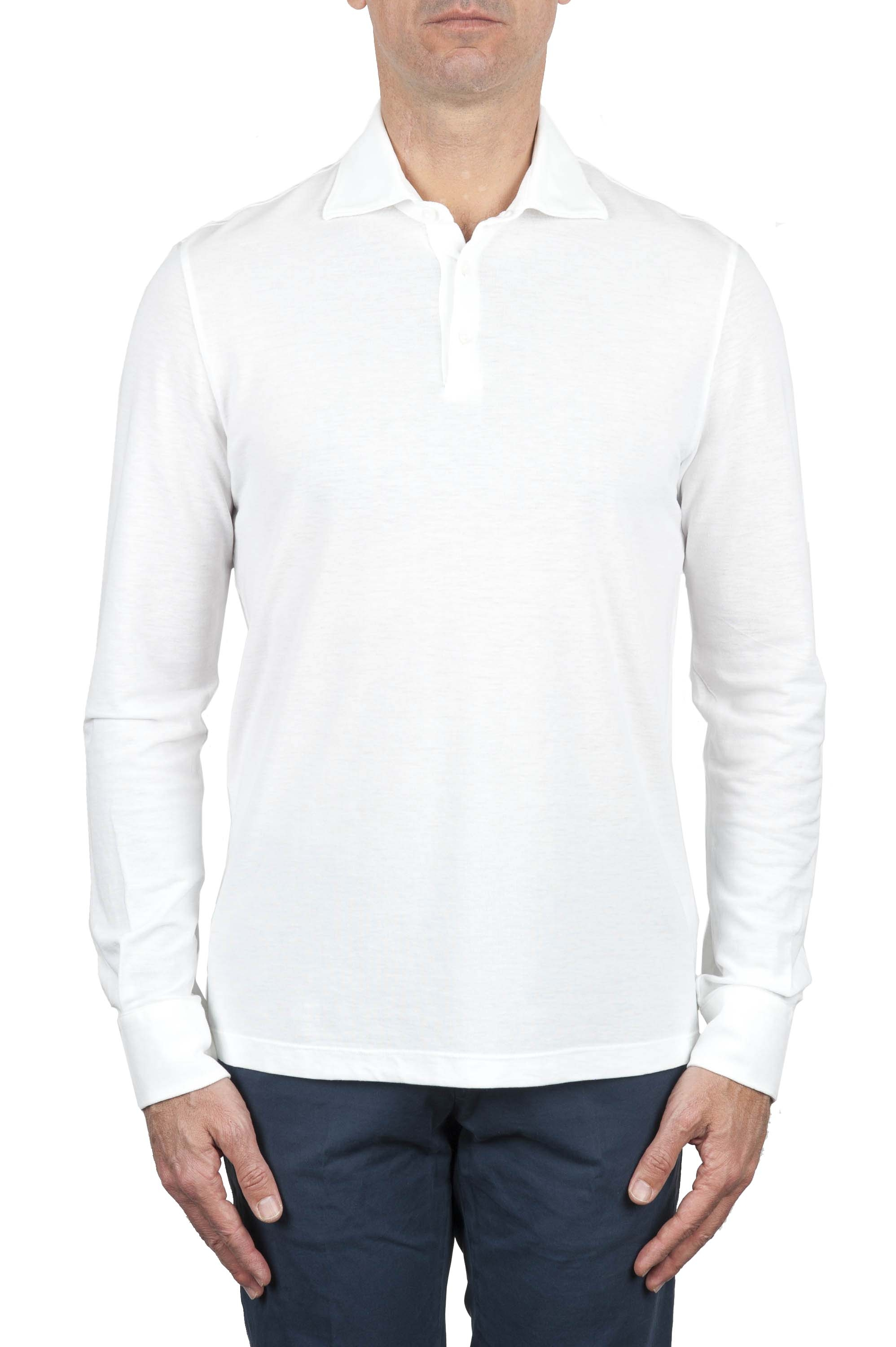 SBU 01714 Classic long sleeve white cotton crepe polo shirt 01